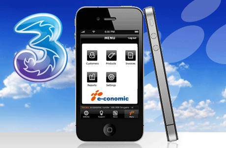 iPhone - 3 and e-conomic logos