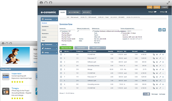 Screenshots of the e-conomic accounting software